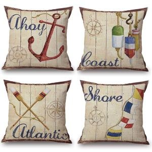 Other - 4 Coastal Pillow Covers Sea Ahoy Atlantic Coast